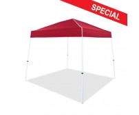 10' x 10' Instant Canopy, Boltless White Frame, Red Top